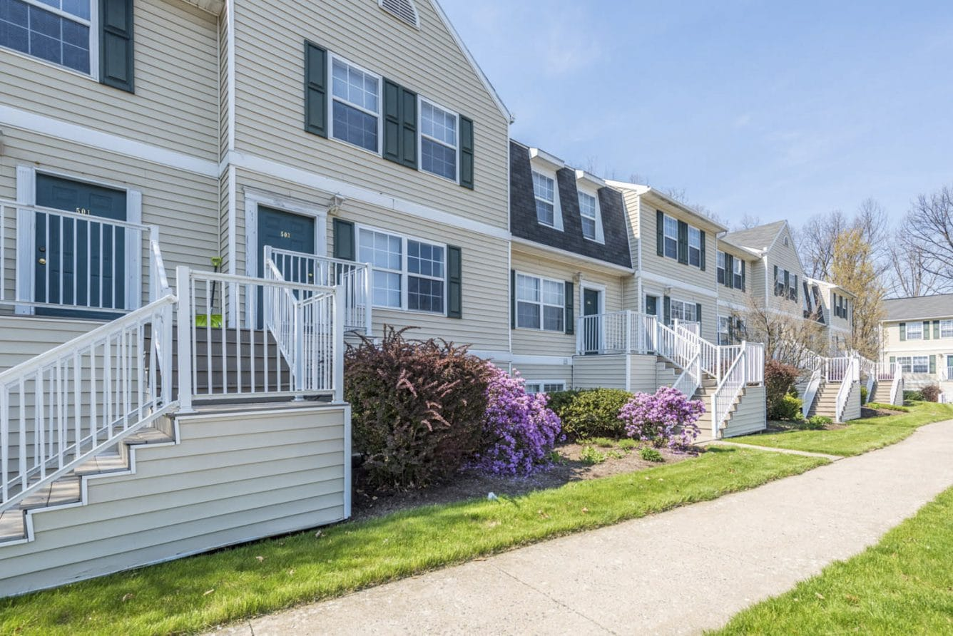 exterior shot of penn state student apartment community